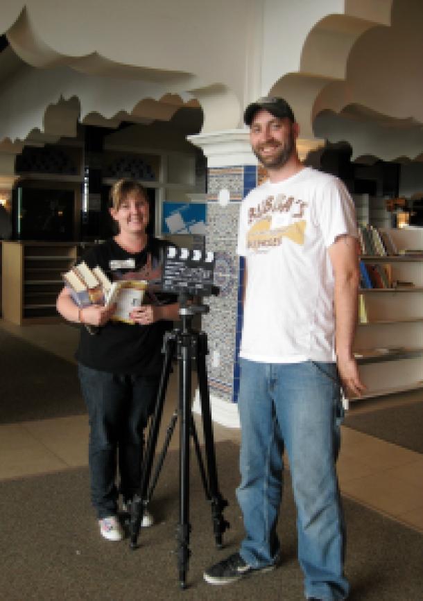 Cassi Lindberg and Aaron Flett on the set of Jesus 4 Less