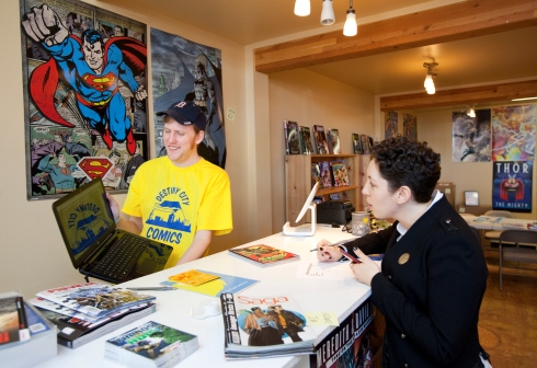 Michael at Destiny City Comics. Photo by Patrick Haggerty