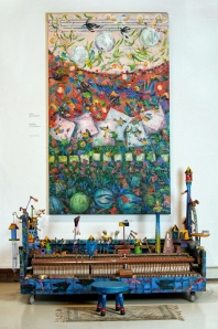 "Repurposed instruments, colorful paintings, and whimsical constructions will make up ""Music Box"""
