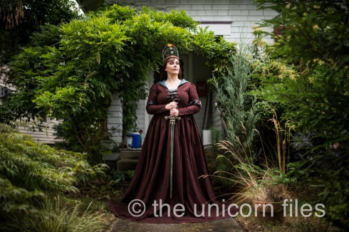 Entrepreneur Naarah McDonald in Period Style Dress she designed and made
