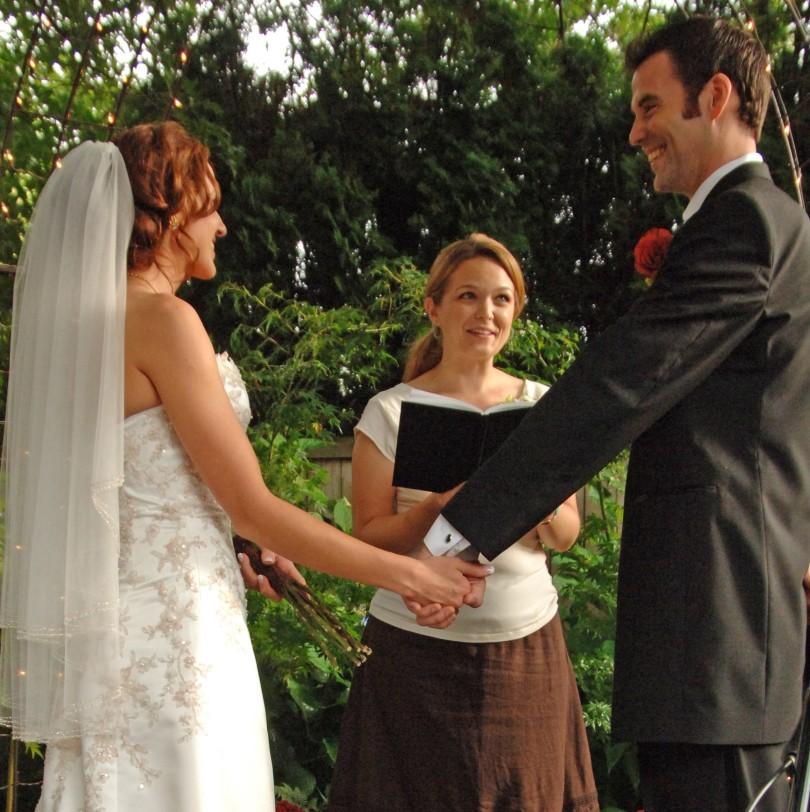 Rochelle Bergstrom officiates a small wedding