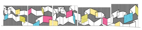 """Concept sketch for Diana Leigh Surma's upcoming mural """"Show Your Stripes"""""""
