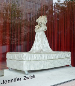 Bed Dress by Jennifer Zwick currently on display in Woolworth Window #1