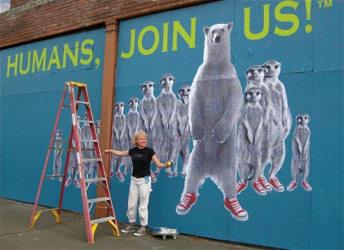 """Mindy Barker takes a break from """"Humans, Join Us"""", a collaboration with Kristin Giordano."""