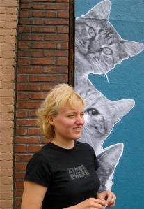Cattin' around: artist Mindy Barker.