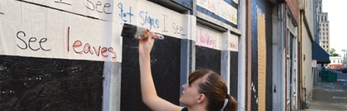 """""""Poetry in the Alley"""" Poems by youth from the Write@253 writing center.  Curated by Samantha Loete & Mary Fox."""
