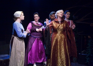"""Cinderella and stepfamily.  Image from """"Into the Woods"""" at the Lakewood Playhouse in 2009.  Costume design and construction by Christina Hughes."""