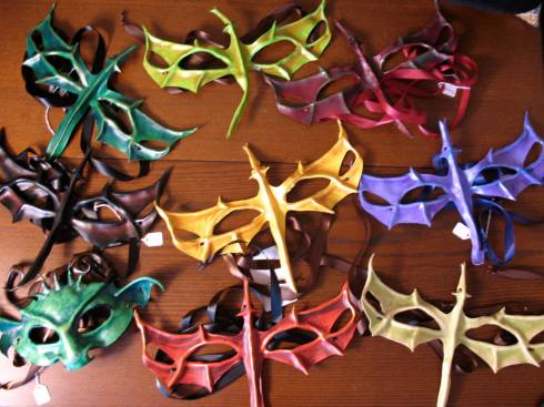 Leather masks by Christina Hughes, just part of what will be on auction at the Black Friday Gala.