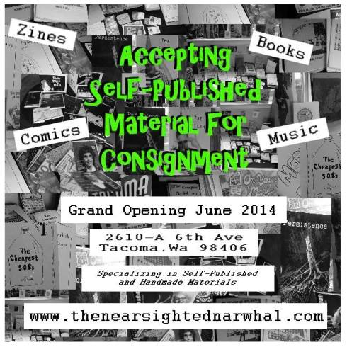 A great opportunity to consign your work in the Nearsighted Narwhal!