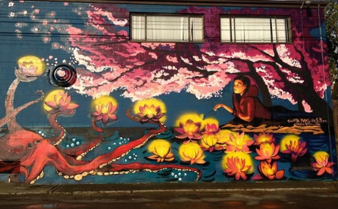 Buddhists Temple mural by Chelsea O'Sullivan. Photo courtesy of the artist