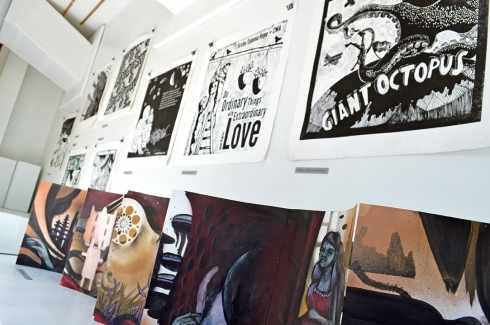 For the past few years Spaceworks has offered a Woolworth window to display the large steamroller prints created at the annual Wayzgoose Printmaking Festival.  This year, as curator, Jessica Spring organized the exhibit of these 10 large, bold, and spirited prints along with a large accordion book illustrated by Jeremy Gregory