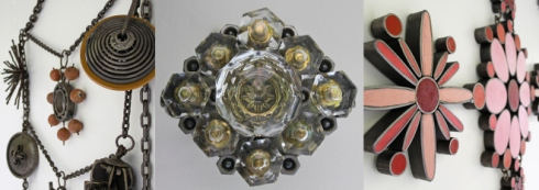 """""""Athena's Bling"""" includes 14 impressive sculptures of oversized, ornate jewelry.  For a sense of scale, the middle image contains glass doorknobs, and the pink sculpture on the right weighs 80 lbs! Spaceworks photo"""