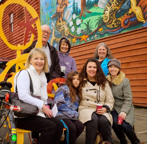 Back row: John Truman (RPDBD President 2014-15), Karen Truman (Treasurer of Tacoma Neighborhoods Together), Tammi Herridge (property owner & proprietor of Antique Sandwich Co.) From row: Beth Torbet (RPDBD Past President 2010-14), Lily Weddermann , Jennifer Weddermann (artist), Juel Lugo (LILT, Project Manager)