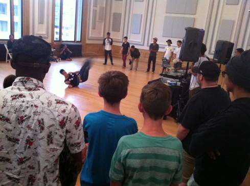 Fab5 break-dancers at the June Art Walk