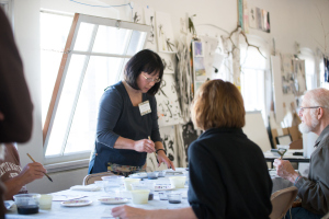 Lois Yoshida gives a Sumi painting demonstration during the Tacoma Studio Tour.