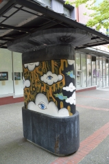 The painting on the outside of the structure is a collaborative effort by Tacoma artists Kris Crews, Jeremy Gregory and Geoff Weeg.