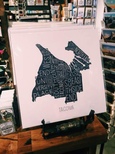 Tim+April's maps of Tacoma and other cities and other products can be found at Compass Rose Tacoma and on their website.