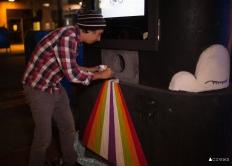 Kris working on beam of color. Photo: Crews Creative