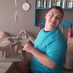 Haden working on one of his dragons at SPUN.