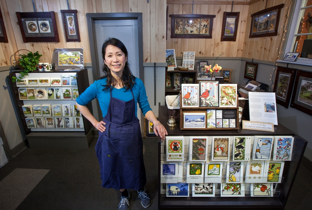 Tacoma print maker Yoshiko Yamamoto improved her small business practices with Spaceworks Creative Enterprise Tier III program. The Arts & Crafts Press produces whimsical notecards and fine art prints combining Japanese woodblock style with Western letterpress techniques.