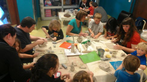 Language of Clay family art workshop with SPUN at Children's Museum of Tacoma. Photo courtesy of Children's Museum of Tacoma.