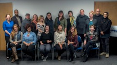 Coordinator Gwen Kohl and entrepreneurs in Creative Enterprise Tier I class of Spring 2016. Gwen Kohl, Erik Bernard, Steve Buchanan, Stephanie Lile, Jessica Prindel, Christina Murray, Liz Van Dyke, Erika Ray, Rebecca Parson, Martha Lucas, Sebastian Levy-Aldrete, Silong Chhun, Kellie Richardson, Tara Brown, Clarissa Gines, Rosemary Mathison, & Janelle Abbott. Photo by Spaceworks.