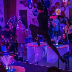 Dancer from Sound Movement Art Center (SMAC) leaps during performance at NEON 2016. The event featured many performances in addition to visual art and music. Photo By Scott Haydon.