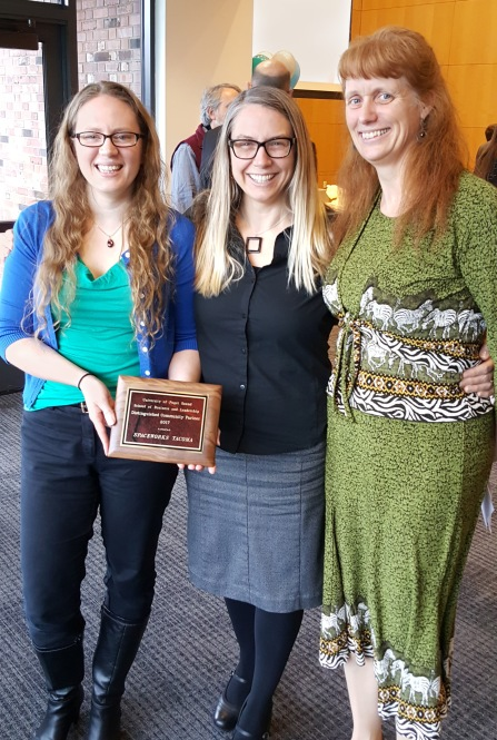 Gwen Kohl & Heather Joy receive UPS 2017 Distinguished Community Partner Award presented by Lynnette Claire, Ph. D.