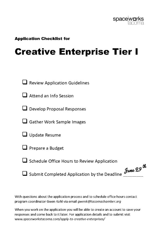 Checklist to Apply to CE Tier I