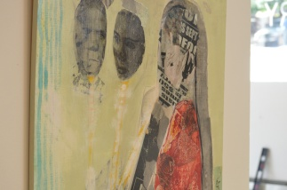 """Janice La Verne Baker, Immigration, 2014, Mixed Media. This painting is about separation from family. It is also about having to hide who you are from those you love. It is about the choices a person has to make when the prejudices of the world become the law. It is dedicated to two wonderful women I know who are DREAMERS and who deal with the uncertainty about the future every day. The DACA program (also referred to informally as the """"DREAMers"""" program) was created through a June 15, 2012 DHS memorandum issued during the Obama Administration. In order to qualify for DACA, individuals must prove that (1) they were under the age of 31 as of June 15, 2012; (2) they came to the U.S. before reaching their 16th birthday; (3) they have continuously resided in the United States since June 15, 2007, up to the present time; (4) they were physically present in the United States on June 15, 2012, and at the time of making the request for DACA consideration; (5) they entered without inspection before June 15, 2012, or their lawful immigration status was expired as of June 15, 2012; (6) they are currently in school, have graduated or obtained a certificate of completion from high school, have obtained a general education development (GED) certificate, or are honorably discharged veterans of the Coast Guard or Armed Forces of the United States; and (7) they have not been convicted of a felony, significant misdemeanor, three or more other misdemeanors, and do not otherwise pose a threat to national security or public safety. Individuals who qualify for DACA may currently continue to apply for initial approval and extensions in two-year increments. However, the future of DACA is still uncertain as it does not, alone, lead to any long-term solution to unlawful immigration status. Individuals in DACA status should continue to follow the developments as the Trump Administration may still be considering the termination of DACA in the future, pursuant to the leaked draft Executive Order"""
