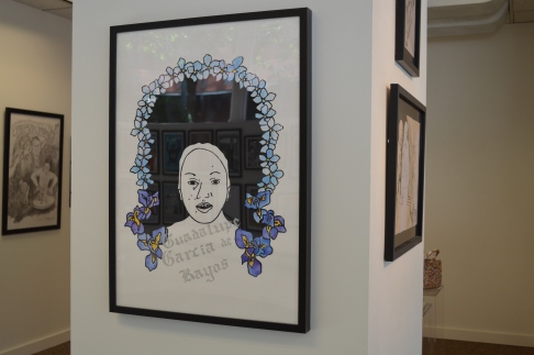 """Work by Andrea Eaton: Guadalupe Garcia de Rayos, 2017, Screen Print/Mixed Media, $120. Guadalupe Garcia de Rayos was 14 when she left Acambaro and crossed the border to Nogales, Arizona in hopes of a better life. 21 years later, after 8 years of obediently meeting with ICE agents, and after a harsh 100 days under Trump, things changed. 8 years ago, Garcia de Rayos was the subject of a workplace raid, and subsequently was arrested for using a fake social security number thus being convicted of felony charges a year later. """"After her conviction she appealed a court order to voluntarily deport and lost. She became the subject of a removal order in 2013 and was placed court-ordered supervision, which required her to report on a provided schedule to an ICE office until her order of removal was """"affected,"""" or acted on."""" With a felony charge under her belt, a long history in Phoenix of racial and ethnic profiling, and a tumultuous new immigration policy, Guadalupe went to her final ICE meeting only to find out she would not be returning to her family. Garcia de Rayos story is a classic immigrant tale, one that is overwhelmingly filled with love and hope, yet is turned into one a tale of stealing and pillaging by those privileged enough to never understand. And while Garcia de Rayos was offered sanctuary at a local church, she refused, she wanted others to understand the magnitude of such policies. She explained in an interview: """"I don't regret it, because I know I did this so that more families could see what's in store, what could happen, and so that they could know what they could risk,Trump is not harming the adults and the parents who get deported, but it's different for the children left behind in the United States. I am not what he says. I simply am a mother who fights for her children, who fights to give them the best."""" I believe that Garcia de Rayos' story is one of immense importance, especially in an age rampant with Islamophobia, racial biases, and outright bull"""