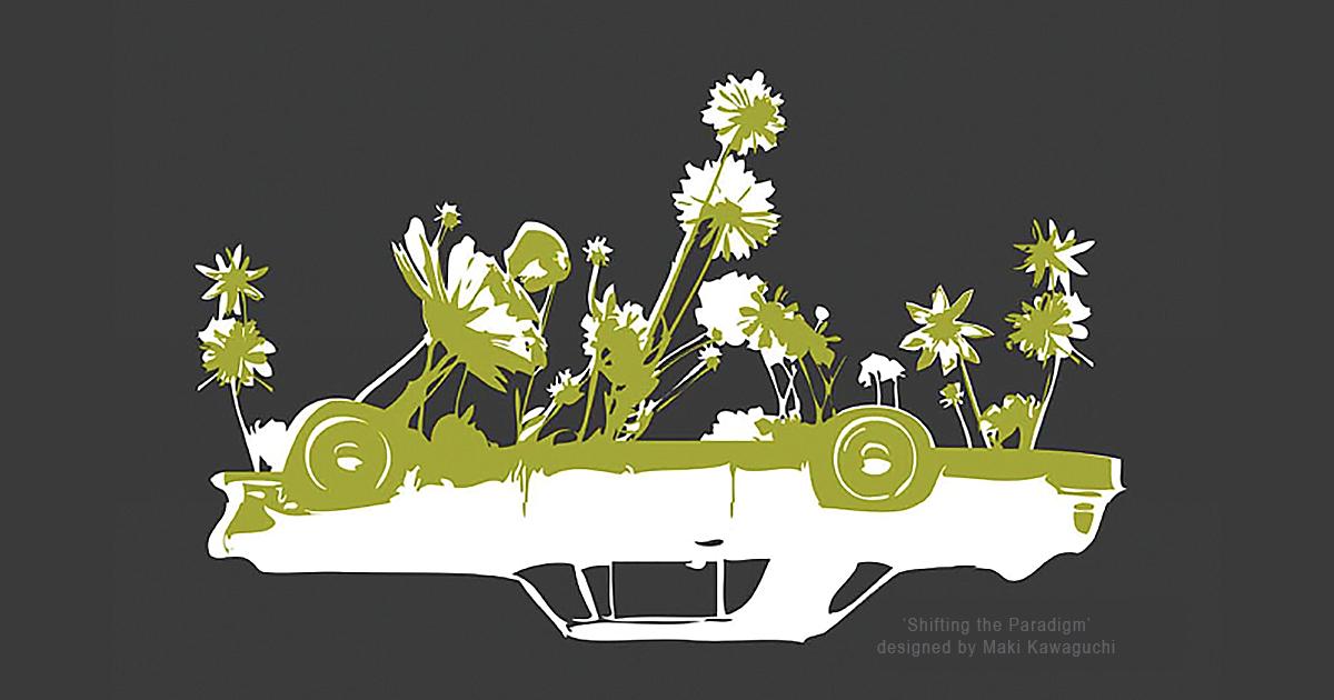 Park(ing) Day graphic 'Shifting the Paradigm' by Maki Kawaguchi